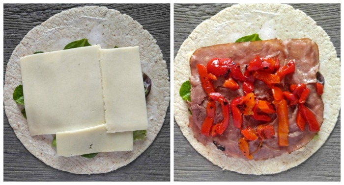 place slices of harvarti, roast beef and add roasted red peppers