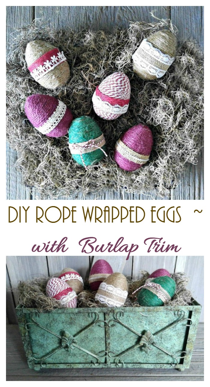 These rope wrapped eggs with burlap ribbon make a cute Easter decoration item but can also be used all spring for pretty cottage chic decor.