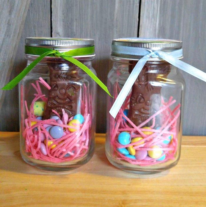 Tie ribbon on the jar lids