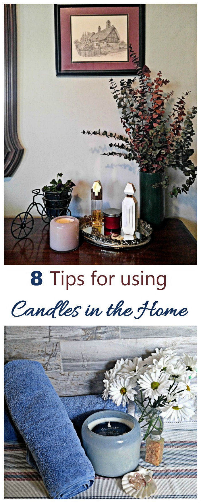 Candles add mood and coziness to any rooms of the house. I use them everywhere, including on my patio. See my 8 tips for using candles and how to make the most of them in every room of the house.. #chesapeakebaycandle #alassis #ad