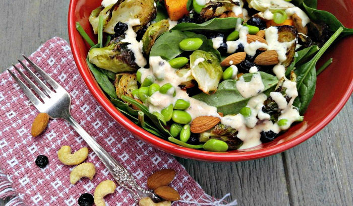 Bowl of roast vegetable salad