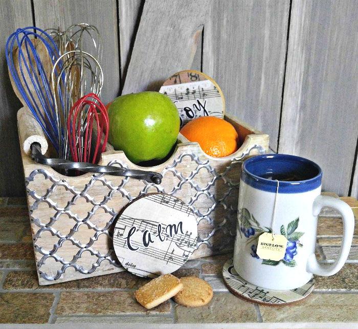 Bigelow tea and DIY Music Sheet Coasters