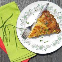 Crustless chicken quiche on a pretty plate