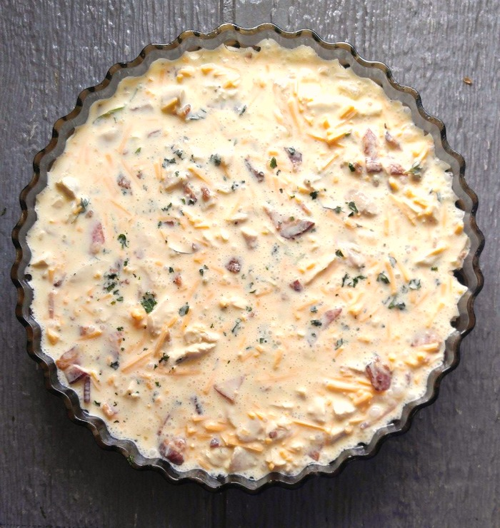 Crustless chicken quiche ready to cook