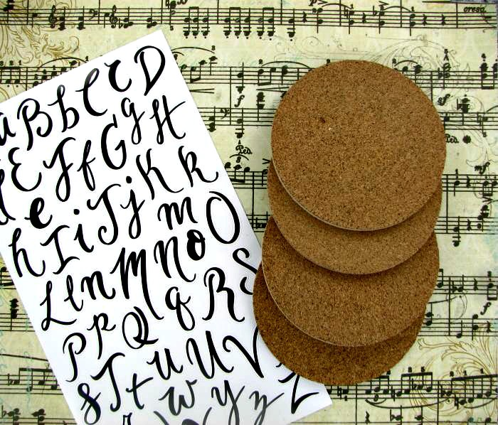 Supplies for music sheet coasters
