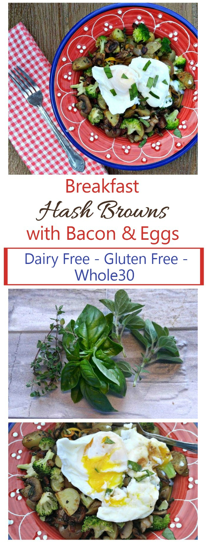 These breakfast hash browns with bacon and eggs are healthy, hearty and so delicious. Ready in less than 20 minutes and fits into the Paleo, (use sweet potatoes instead of white) Gluten free and Whole30 diet plans. #whole30