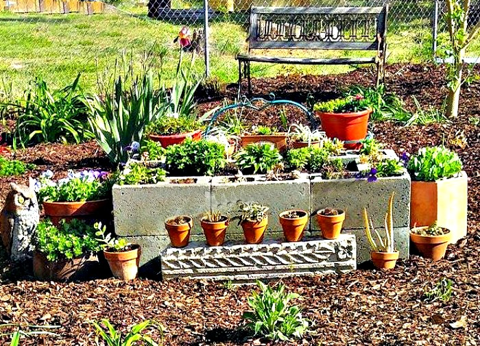 Cement blocks Succulent planter
