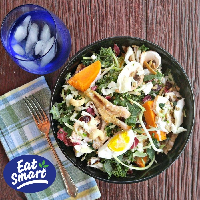 Chicken and Kale salad with sweet potatoes