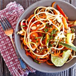 Asian salad made with spiralized vegetables