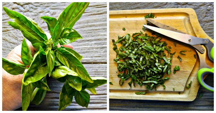 Fresh basil adds home grown flavor