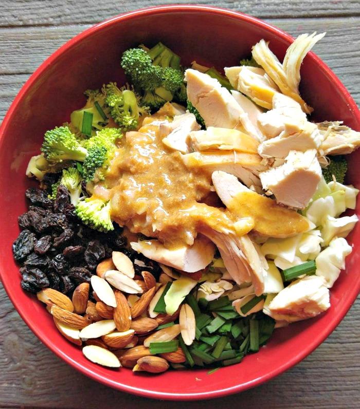 Add dressing to the broccoli salad