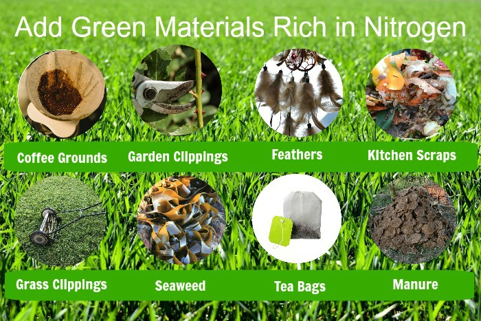 Green materials for a compost pile
