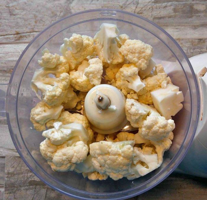 cauliflower rice in a food processor