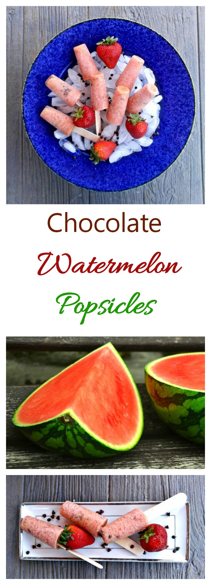 These Chocolate Watermelon Popsicles are sweet and refreshing and have a light crunch from some chocolate chips.
