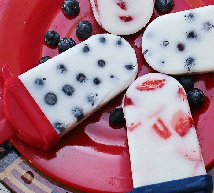 Yummy red white and blue popsicles are fun to eat and patriotic too.