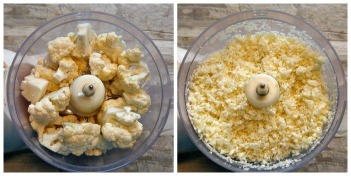 Pulsing cauliflower into rice