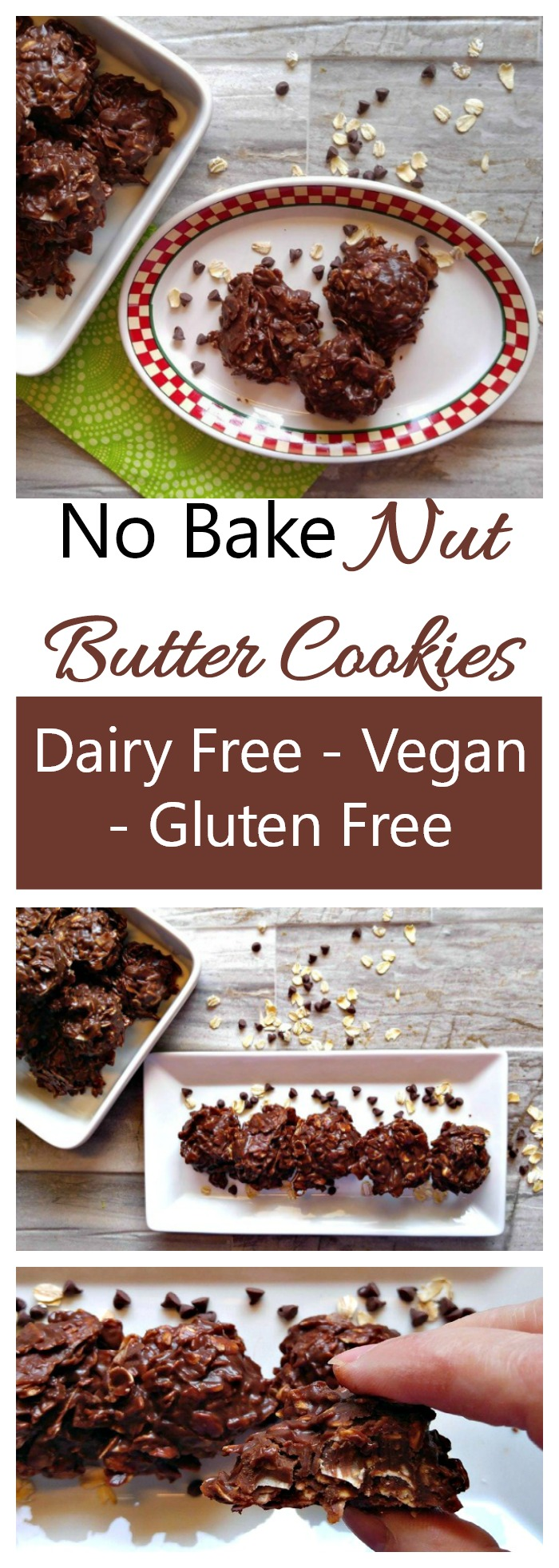 These no bake nut butter cookies have the most decadent flavor and are nut free, dairy free, gluten free and vegan. Super tasty and easy to make, too!