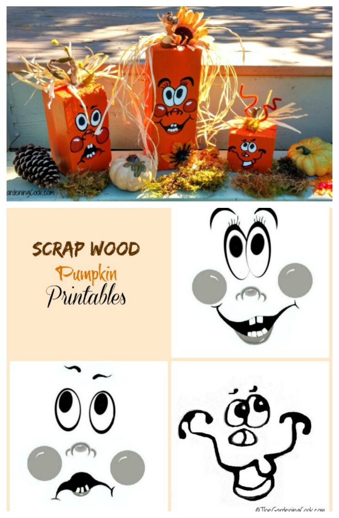 Use reclaimed wood and my printable to make these adorable scrap wood pumpkins #autumn #pumpkintime