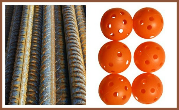 Rebar and plastic golf balls