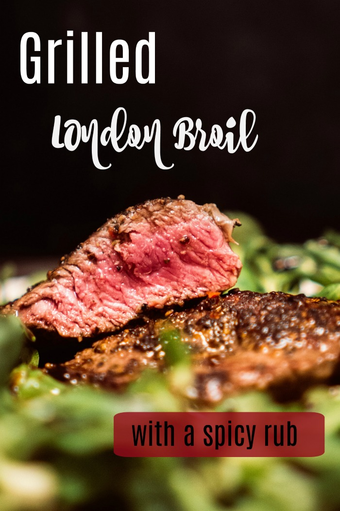 Grilled London Broil with a spicy rub and red wine marinade