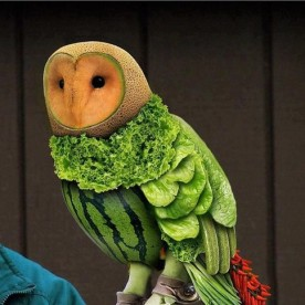 food art carving of an owl