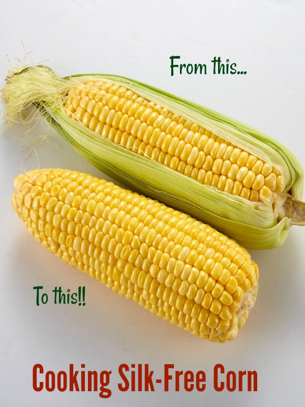 Cooking corn in the microwave makes it very easy to shuck the corn with no silk.