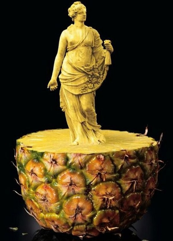 Pineapple carved into a statue