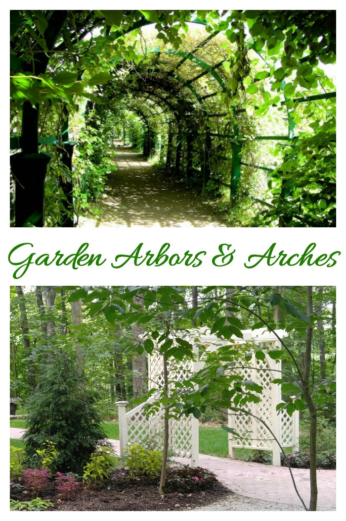 There are many types of garden arbors and arches. They can be used as an entry or a focal point in garden settings.