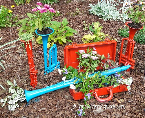 musical instruments used as planters