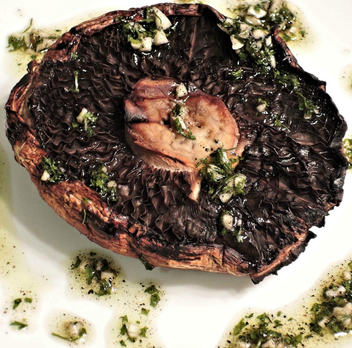 Grilled mushrooms with garlic and parsley