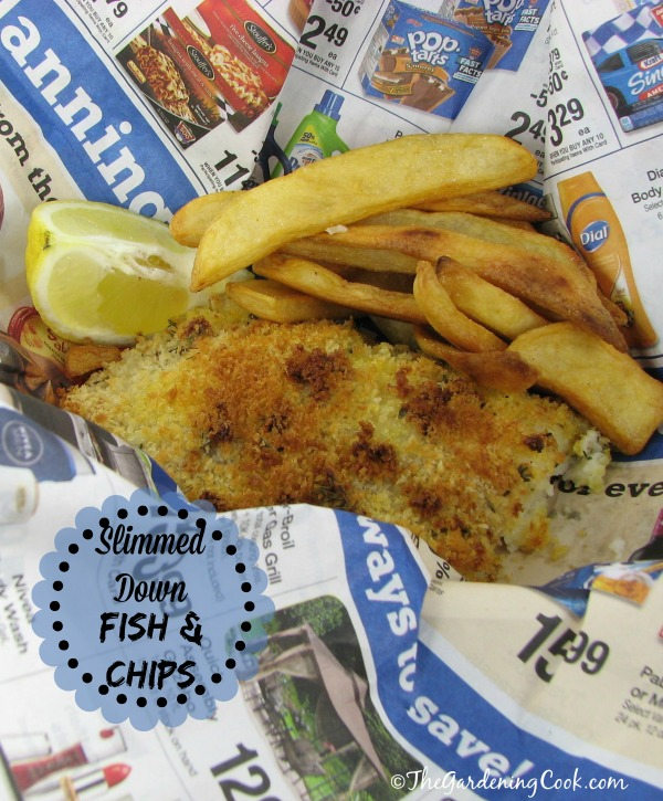 My version of slimmed down fish and chips.  Panko bread crumbs and oven baked steak fries are the key.