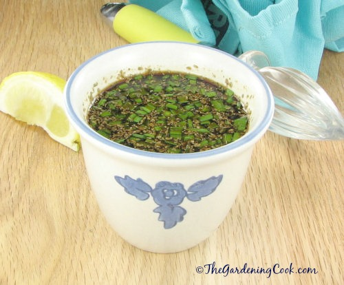Soy ginger marinade with fresh chives