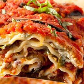 Serving of Italian lasagne with vegan options
