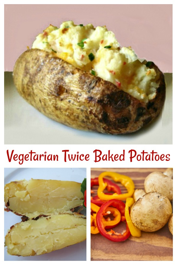 These twice baked potatoes are full of the flavor of fresh veggies and have both vegetarian and vegan substitutes for a healthier version of your favorite pub grub meal. #twicebakedpotatoes #loadedpotatoes #vegetarian #vegan #sidedish