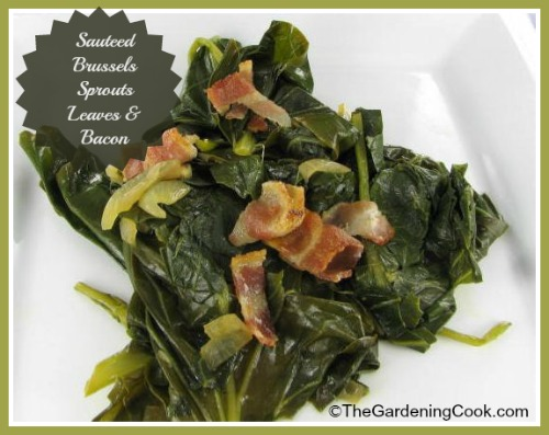 Sauteed Brussels Sprouts Leaves with Bacon