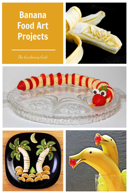 Banana carving: Banana rose, Banana snake, banana beach scene and banana dolphins in a collage with words Banana Food Art Projects.