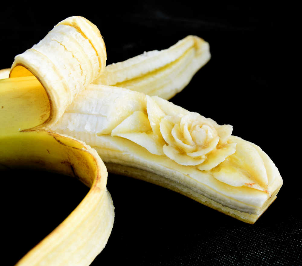 Banana carving: flesh carved into a rose.