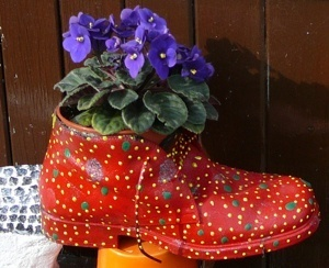 red boot planter