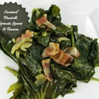 Brussels Sprout Leaves with bacon and garlic