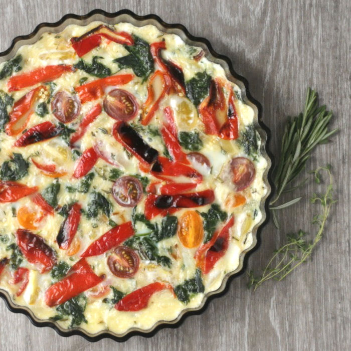 crustless spinach quiche made with egg whites
