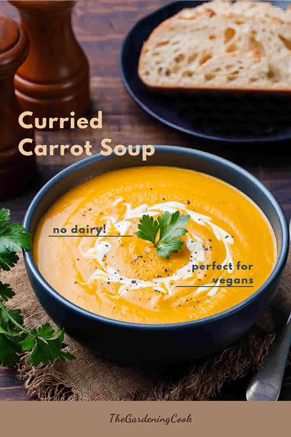 Soup in a bowl with parsley and words Curried Carrot Soup.