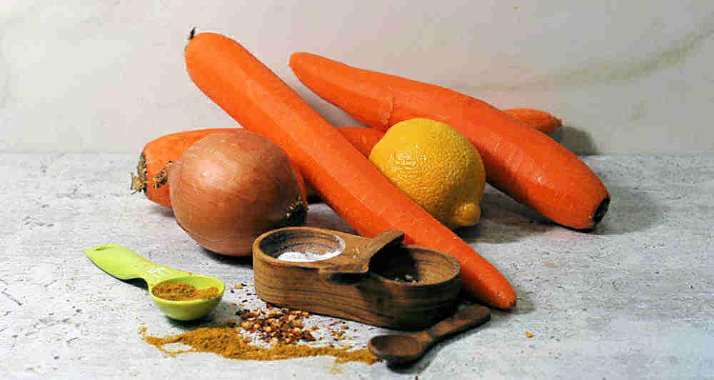 Carrots, onions, salt pepper, red pepper, curry powder and lemon.