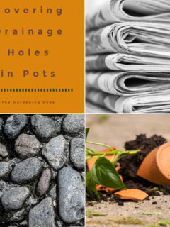 Newspaper, pebble rocks, broken terra cotta in a collage with words Covering Drainage Holes in Pots.