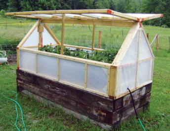 Greenhouse made from a raised garden bed