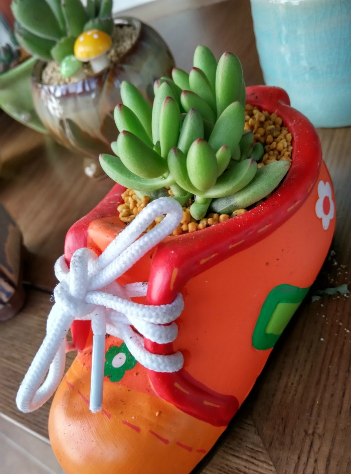Orange kids boot planter