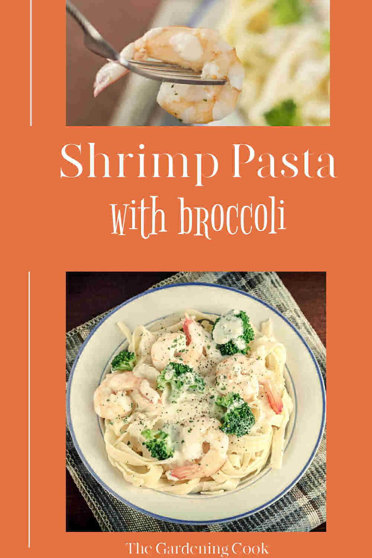 Camarones, pasta y brócoli en un tazón y tenedor con shirmp con palabras leyendo pasta de camarones con brócoli.