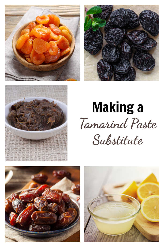 "Dried apricots, prunes, dates, lemon juice and tamarind paste with text overlay reading ""making tamarinds paste substitute."""