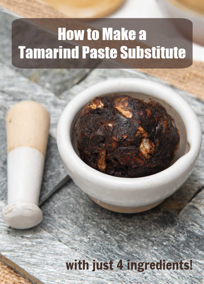 "Tamarind paste in a bowl with a pestle with text reading ""How to make a tamarind paste substitute with just 4 ingredients."""