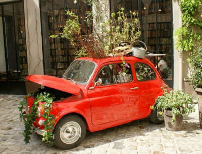 Fiat 500 makes a great car planter!