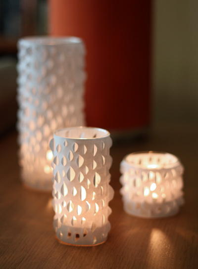 Cut paper candle decoration